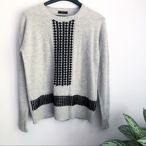 J Crew lace trim front sweater